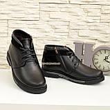 Ботинки кожаные мужские на шнуровке, декорированы вставкой из черной замши, фото 3