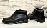 Ботинки кожаные мужские на шнуровке, декорированы вставкой из черной замши, фото 4
