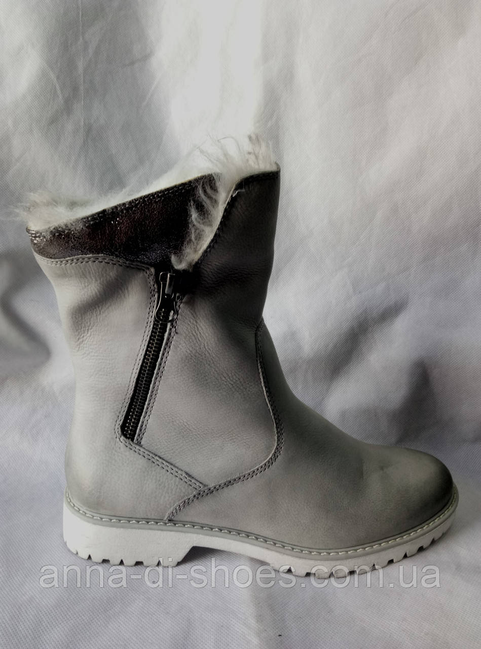 f72485f06 Немецкие Зимние Полусапожки Серый Лед,нубук 39 — в Категории