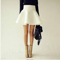 Женская юбка короткая клеш с широким поясом, фото 1