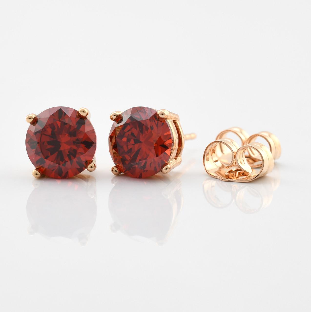 Серьги-гвоздики 21702-18К, размер 8*8 мм, красные фианиты, позолота 18К