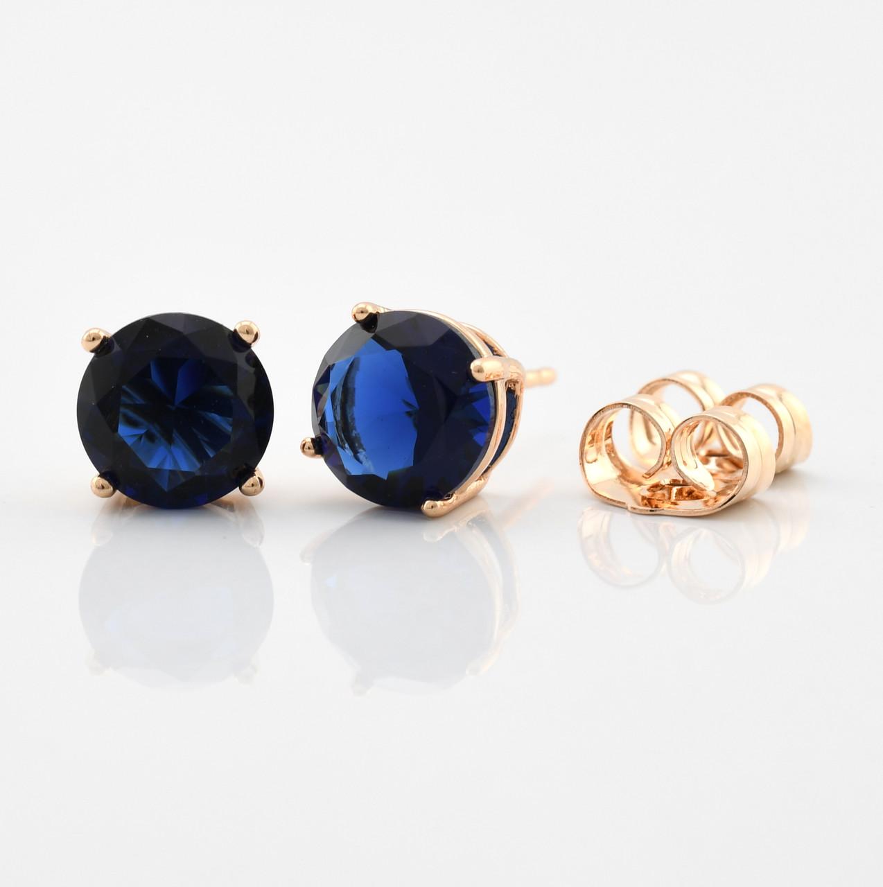 Серьги-гвоздики 21702-18К, размер 8*8 мм, тёмно-синие фианиты, позолота 18К