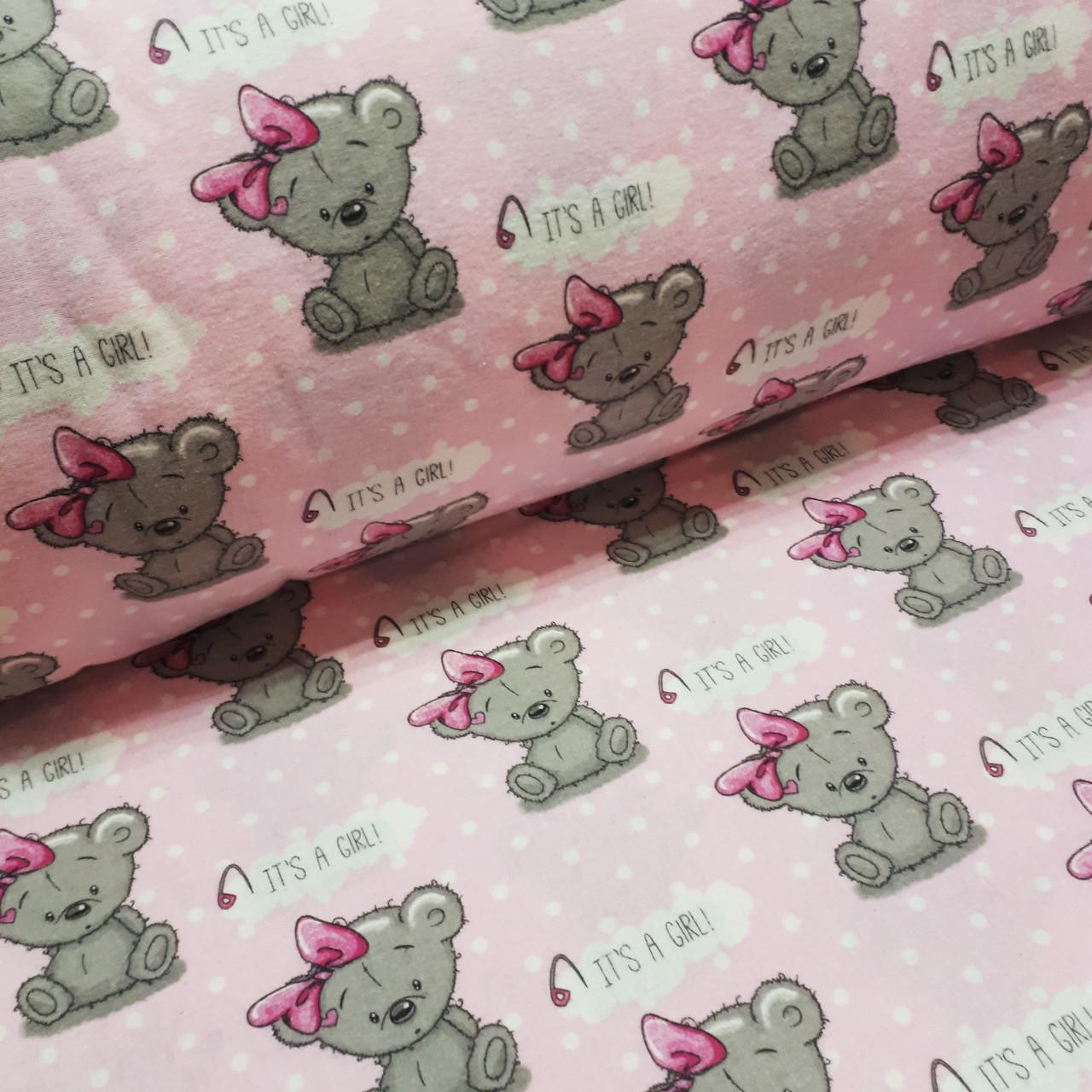 Фланель детская, мишки-девочки с бантом на розовом
