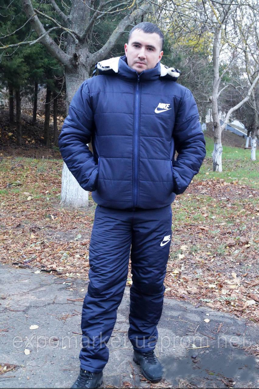 Мужской зимний теплый костюм на синтепоне и овчинке