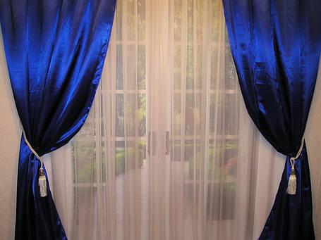 Готовые атласные шторы Электрик, глубокий синий, фото 2
