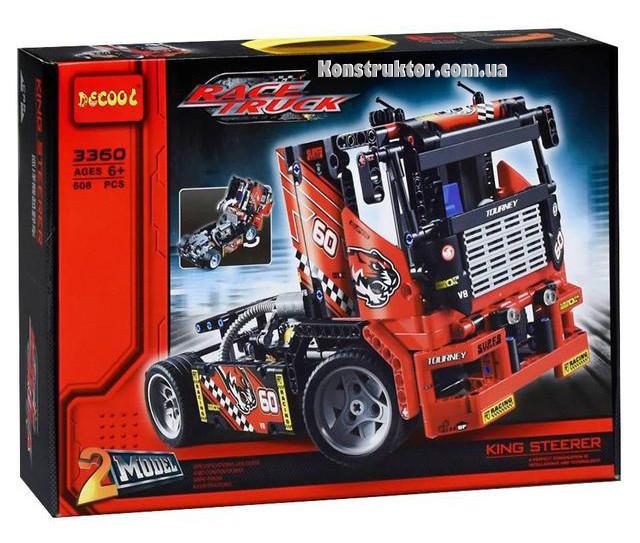 """Конструктор Decool 3360 """"Гоночный грузовик"""" 608 деталей. Аналог Lego Technic 42041"""
