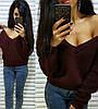 Тёплый и стильный свитер с глубоким вырезом, размер единый, фото 4