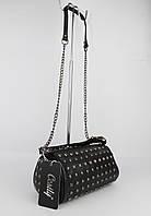 Стильная сумочка с заклепками Cesily 8190 черная, Италия, фото 1