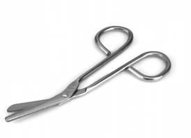 Ножницы медицинские для разрезания марлевых повязок, длина 14,5 см, Польша