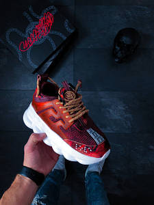 Женские кроссовки Versace Chain Reaction 2 Red Burgundy АТ-766