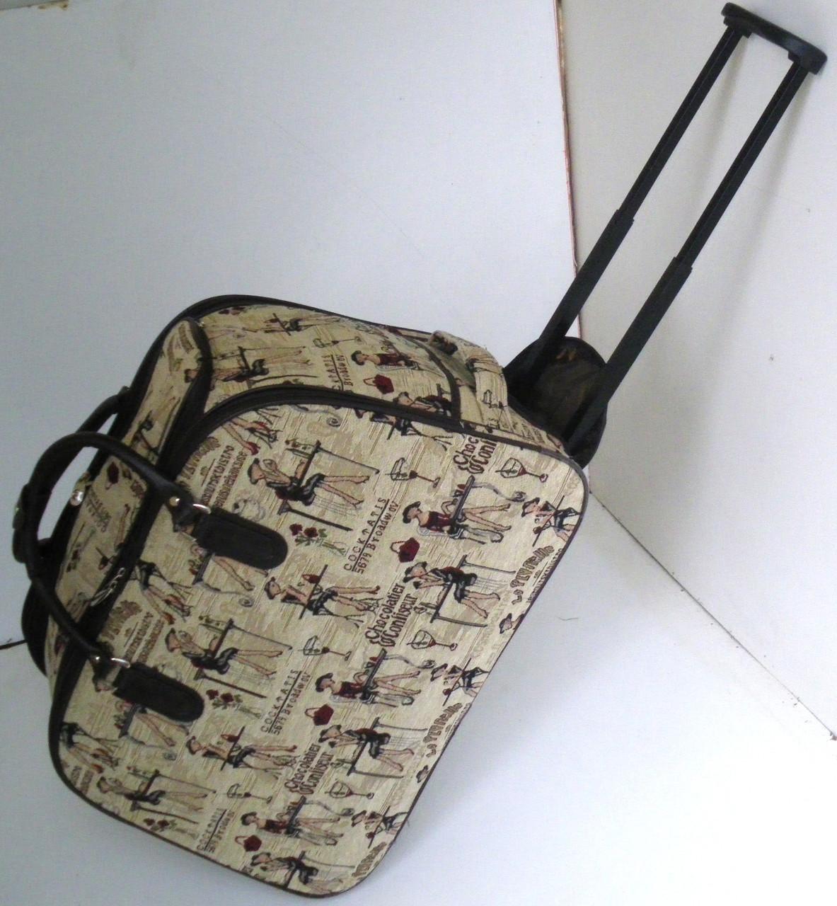 f5b90f663239 Дорожная сумка-гобелен, среднего размера, на колесах с романтическим  рисунком - тканевая -