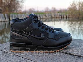 Ботинки зимние мужские черные Nike Air Max нат. кожа реплика, фото 3