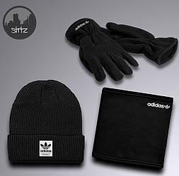 Чоловічий комплект шапка + бафф + рукавички Adidas чорного кольору (люкс копія)