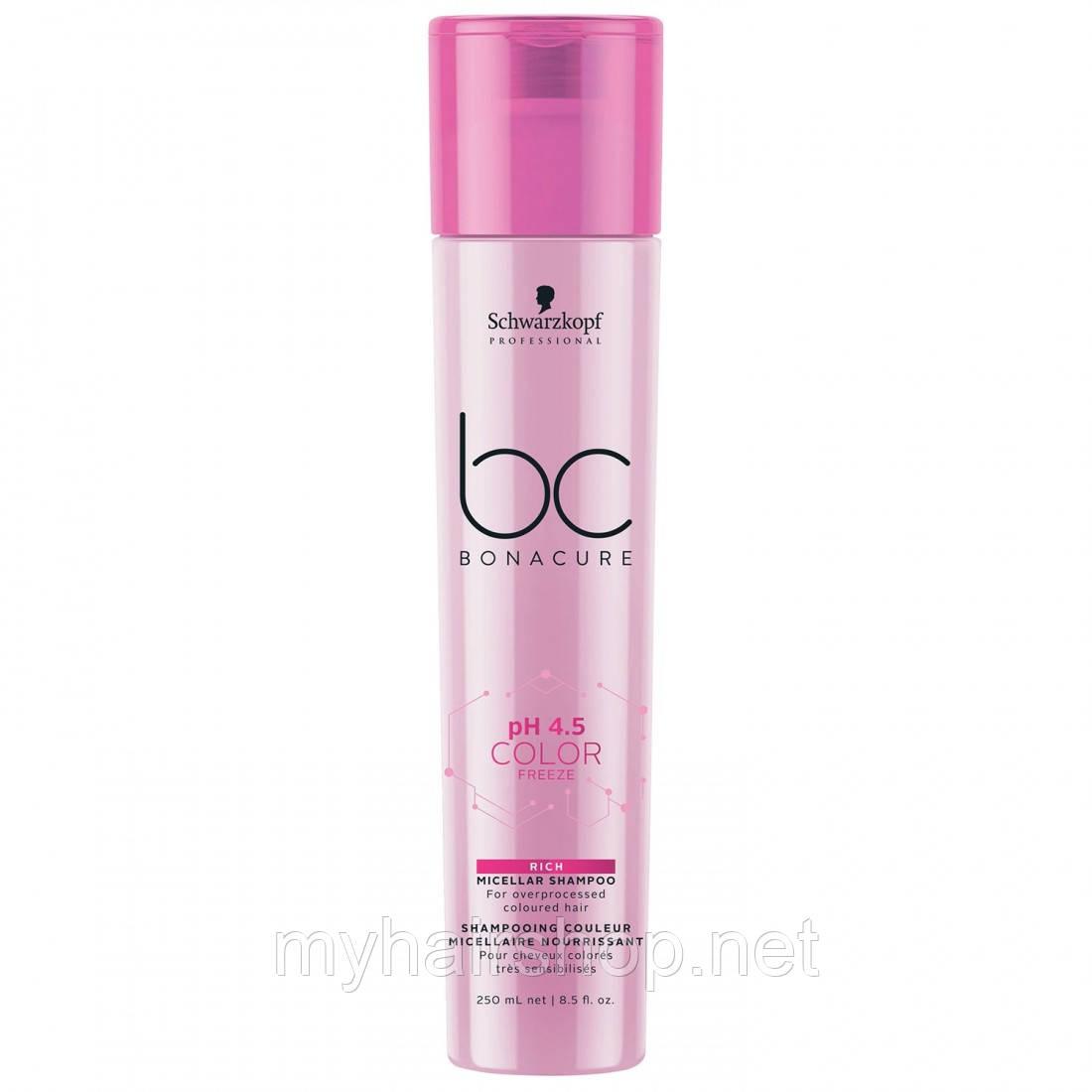 Мицеллярный шампунь для окрашенных волос SCHWARZKOPF BC Color Freeze Rich Micellar Shampoo 250 мл