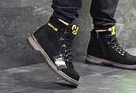 Мужские зимние ботинки Caterpillar черные (Реплика ААА+)