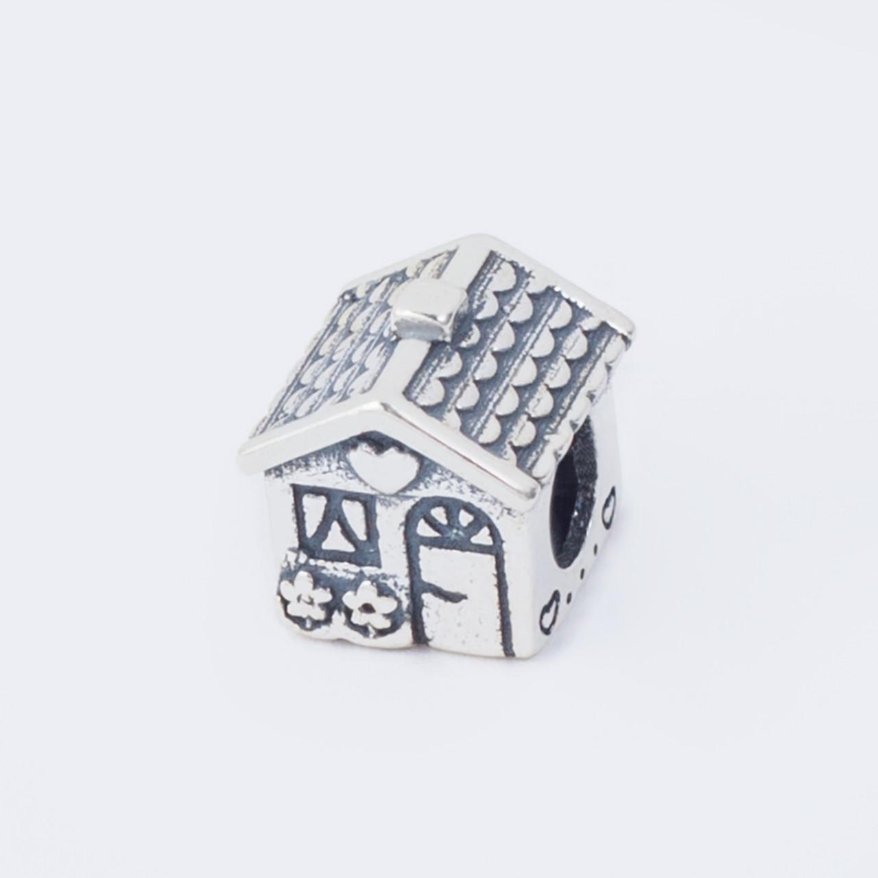 Серебряный Шарм (бусина) «Домик» в стиле Pandora (Пандора)