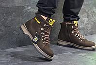 Мужские кожаные  зимние ботинки Caterpillar коричневые (Реплика ААА+)
