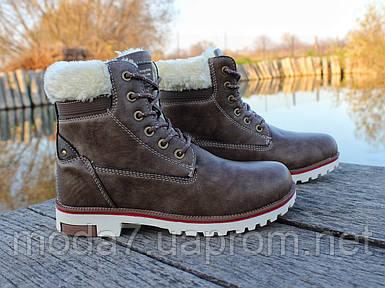 Женские зимние ботинки Польша коричневые