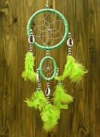 """Ловец Снов """"Два Кольца"""" с каури, зеленый"""