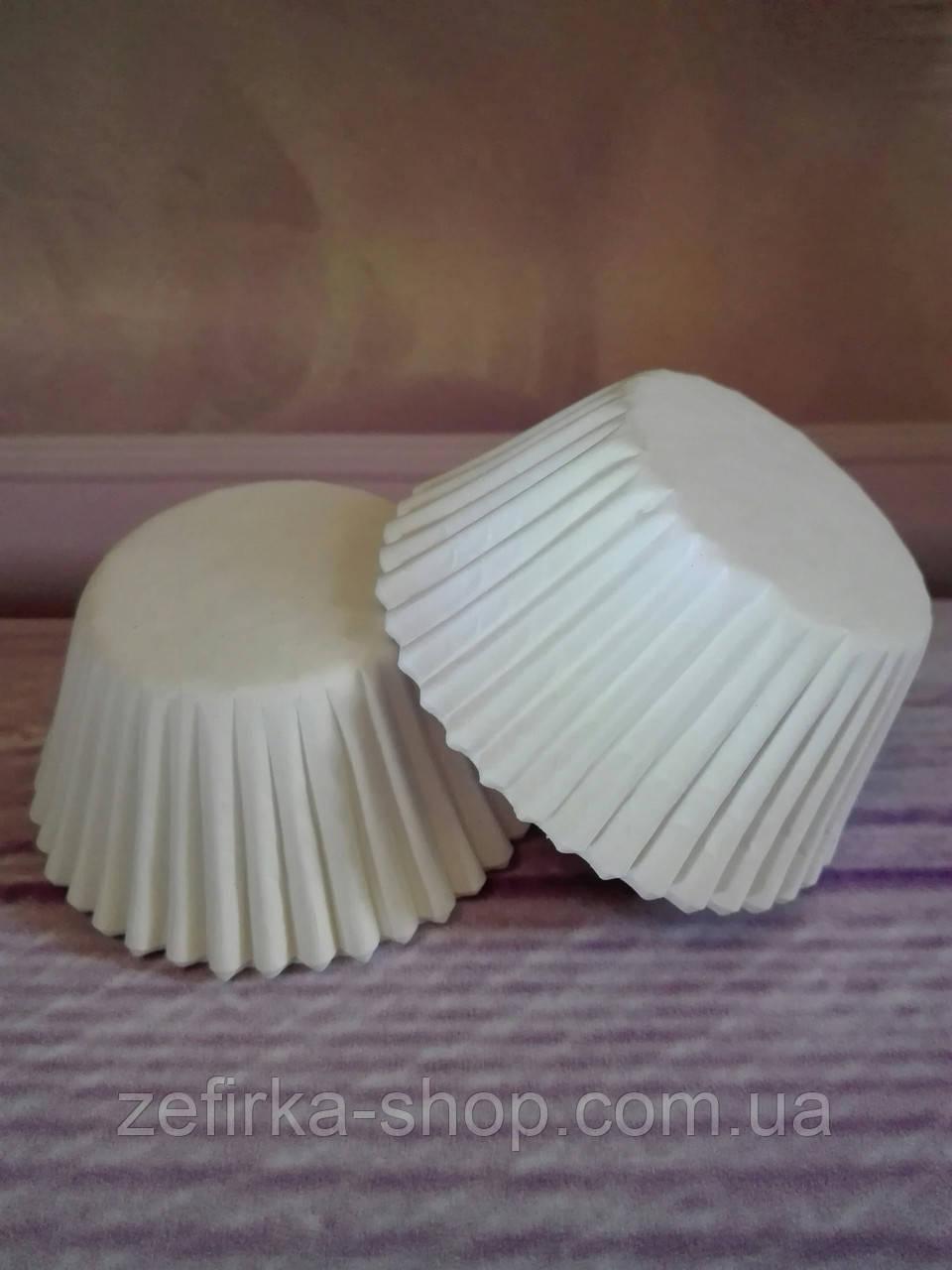 Бумажные формы для кексов белые, 50 шт
