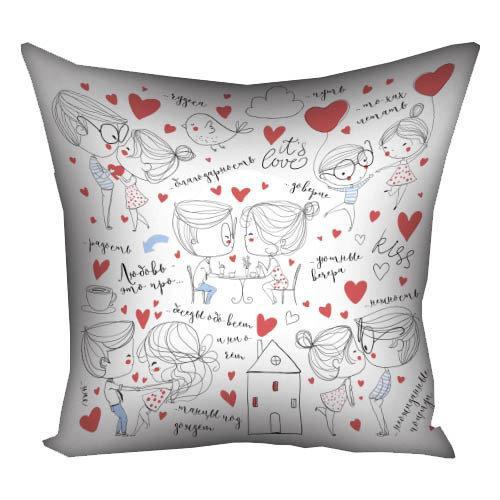 Подушка с принтом Любовь  это про (3P_18L012)