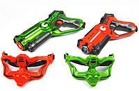 Интерактивный пистолет бластер СALL OF LIFE Laser Tag Gun Laser Shooting W 7001 D для игры в домашний лазертаг + 2 маски Красный/Зеленый