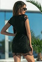 Кокетливое женское платье на подкладке с кружевом Черный. (2 цвета) Р-ры 42-50. (141)586., фото 2