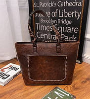 Женская сумка большая коричневая с кисточкой из экокожи, фото 1