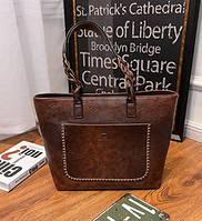 Женская сумка большая коричневая с кисточкой из экокожи опт, фото 1