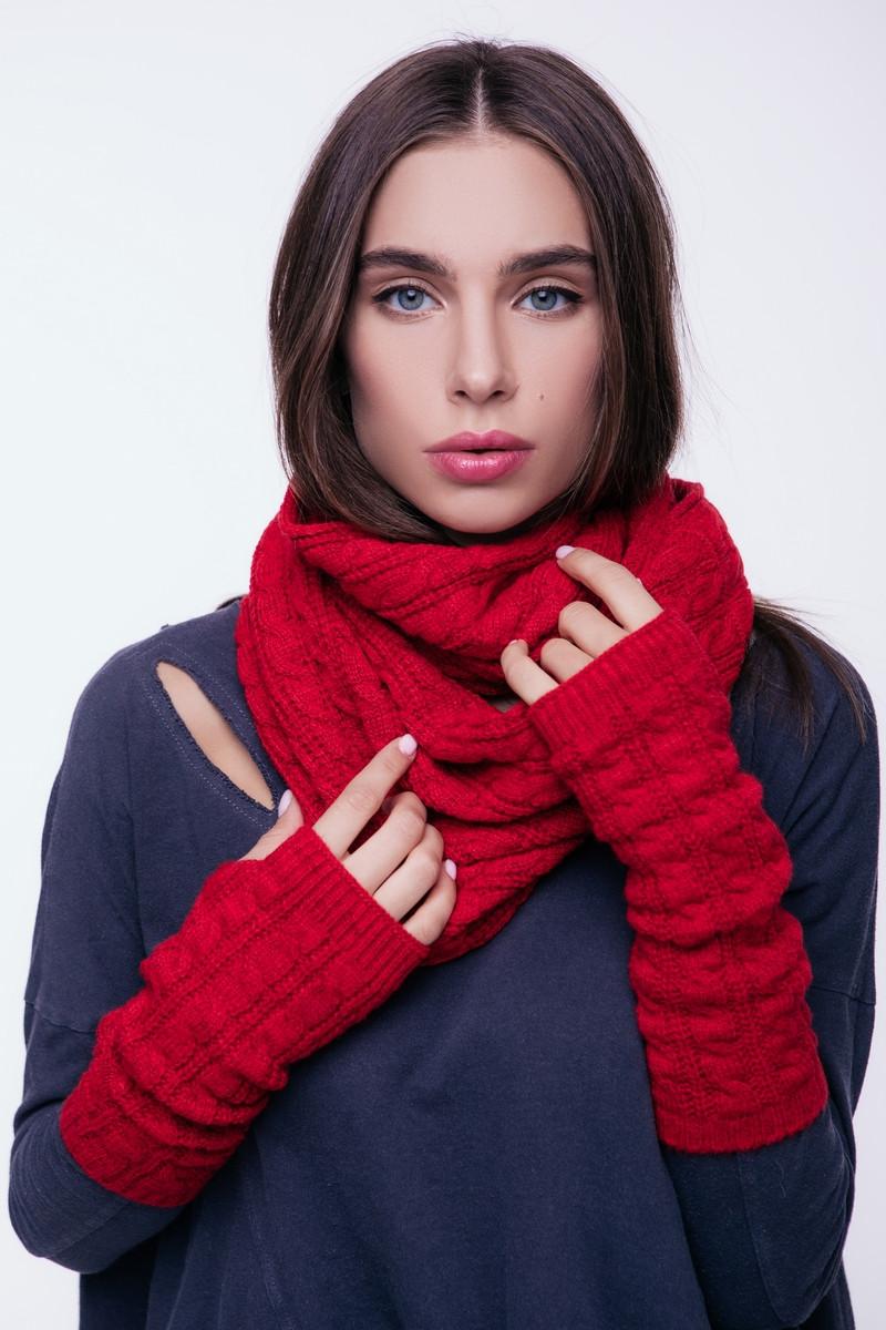 Вязаные митенки перчатки женские