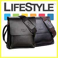 Стильная брендовая мужская кожаная сумка Polo Videng + Подарок!