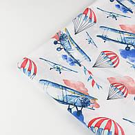 """Отрез ткани """"Аэропланы и парашюты""""  № 1425а, размер 90*160"""