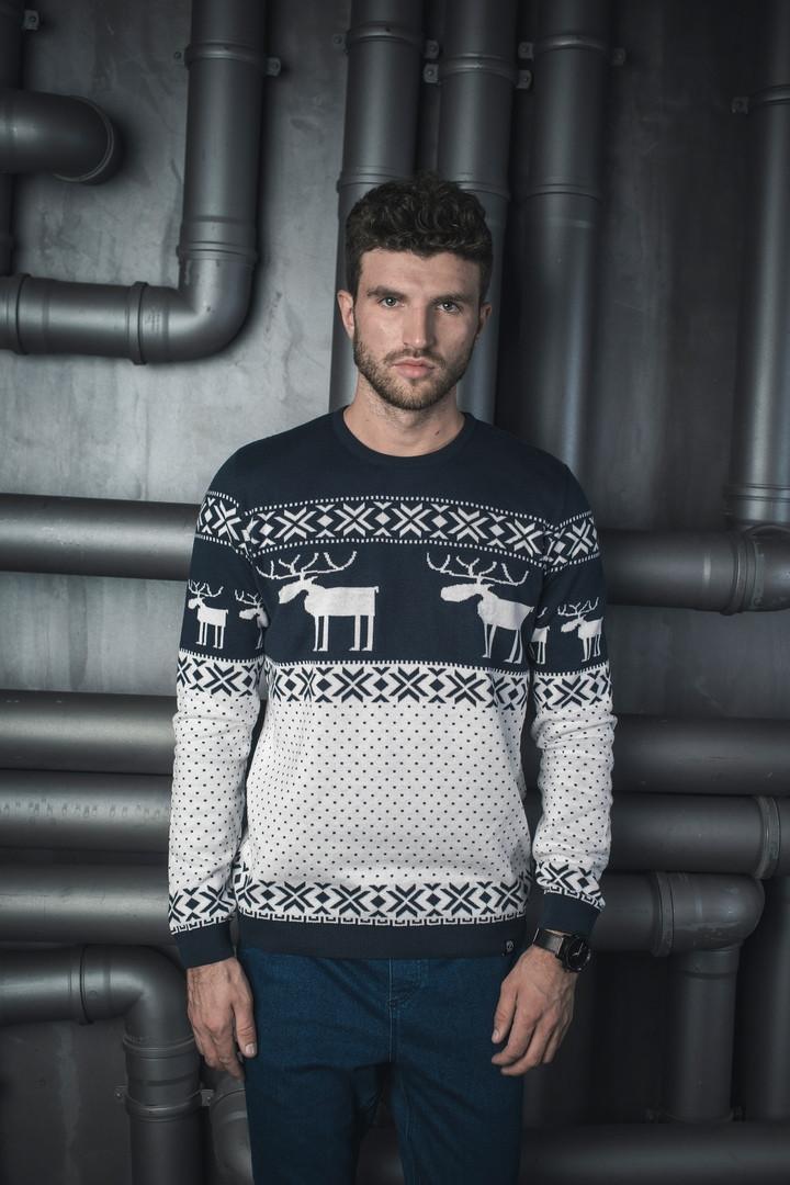 Мужской теплый вязаный свитер BEZET «С Оленями 2»