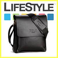 Стильная брендовая мужская кожаная сумка Polo Videng Черный