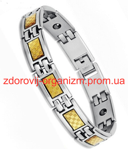Турмалиновый титановый магнитный браслет с сусальным золотом Вековой Восток
