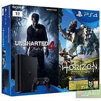 Sony PS4 Slim 1TB + Uncharted 4 + Horizon: Zero Dawn