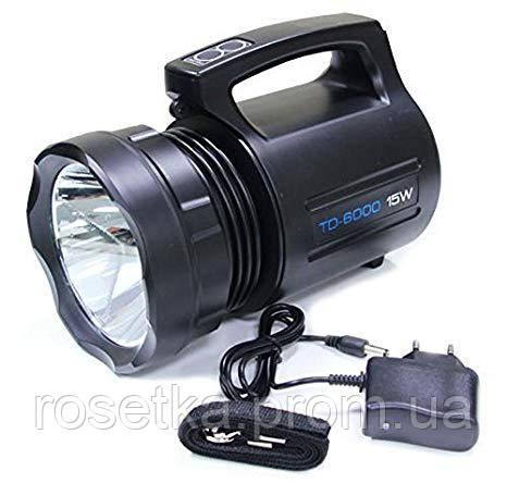 Аккумуляторный фонарь TD-6000 15W, мощный ручной светодиодный фонарь-фара