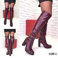 Женские кожаные Ботфорты бордовые еврозима, фото 1