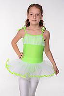 Дитячий купальник для танців з спідницею ту-ту Ріст менше 150 см Салатовий, фото 1