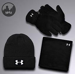 Мужской комплект шапка + бафф + перчатки Under Armour черного цвета (люкс копия)