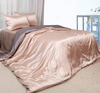 Комплект постельного белья Атласное серебряно золотое