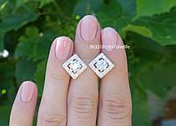 Сережки Ромбики срібло 925, фото 1