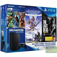Sony PlayStation 4 Slim 500Gb + Horizon Zero Dawn. Complete Edition + The Last of Us + Uncharted: The Nathan D