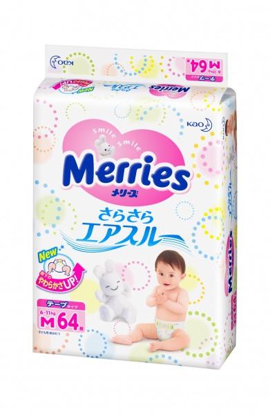 Підгузки MERRIES для дітей розмір М 6-11кг, 64 шт