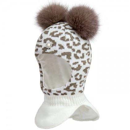 Тепленький зимний шлем с натуральным пампоном для девочки David's Star Размер 54