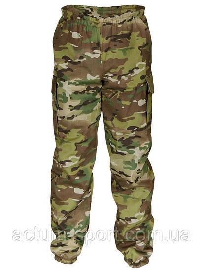 Утепленные мужские штаны на манжетах для охоты и рыбалки Multicam камуфляж