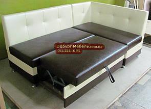 Диван угловой для кухни со спальным местом. Спинка с втяжками., фото 3