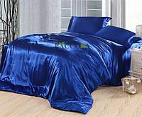 Комплект постельного белья Атласное электросинее