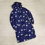 Зимняя куртка с капюшоном. Синяя.Звезды -L-  208-061
