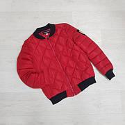 Куртка женская короткая стеганная. Бомбер Красная-M-208-031